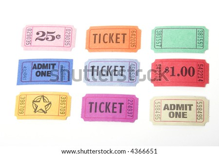 A variety of tickets shot against a white background - stock photo
