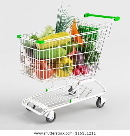 A variety of vegetables in a shopping trolley on white background - stock photo