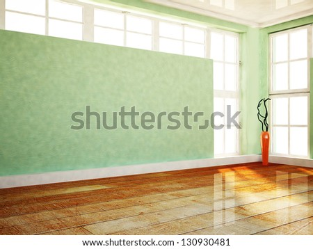 a vase near a big window in the room - stock photo