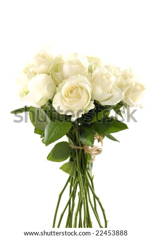 A vase of glass with a bunch of white roses - stock photo