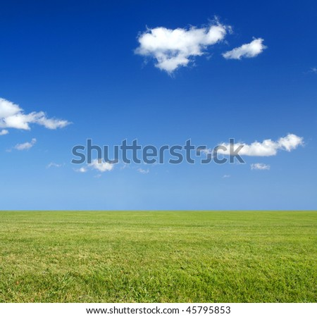 A vast field with green grass and blue sky. Eco-friendly or environmentally friendly concept. - stock photo