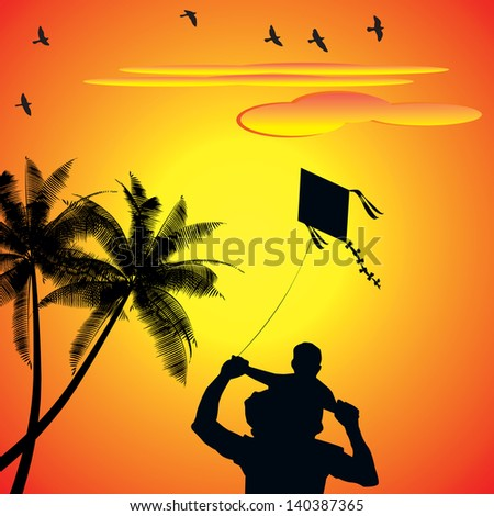 A Vector illustrates a Joyful dad and son playing with kite during sunset/sunshine in their holidays or weekends, this vector can be used as poster, brochure, magazines, websites, presentations - stock photo