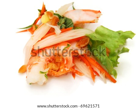 A vegetable shrimp with lotus root in brine - stock photo
