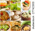 A vegetarian food collage composed by dumplings, vegetables, salad, cauliflower, fried banana, vegetarian burger, crepe and Spanish omelette. - stock photo