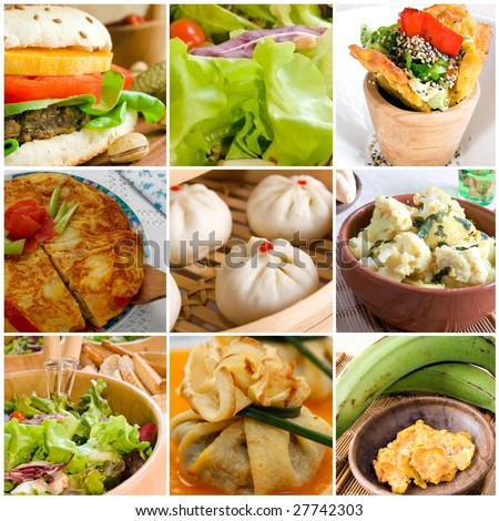 A vegetarian food collage composed by dumplings, vegetables, salad, cauliflower, fried banana, vegetarian burger, crepe and Spanish omelette.