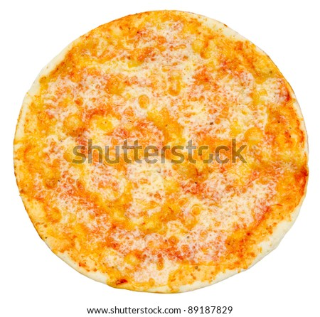 a vegetarian pizza with mashed tomatoes and cheese, isolated - stock photo