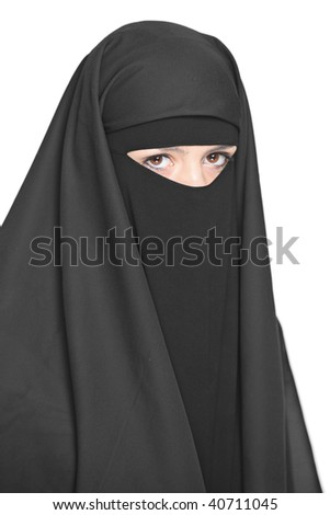 A veiled woman isolated on a white background - stock photo