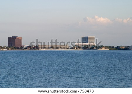 A veiw of hotels and condos along the Tampa Florida skyline. - stock photo