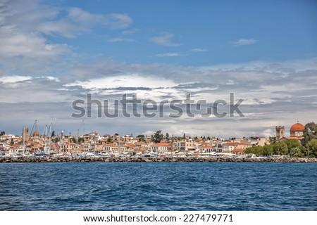 A veiw of the main marine at Aegina Island, Saronic Islands, Greece - stock photo