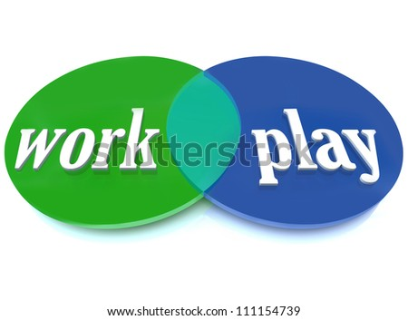 A Venn diagram of overlapping circles with the words Work and Play to symbolize balancing your life with your career and activities you enjoy and find fun - stock photo