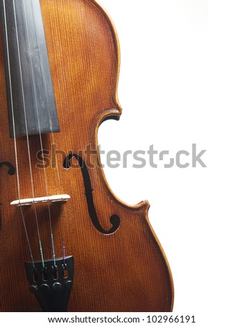 A vertical close up of a symphony violin on white.