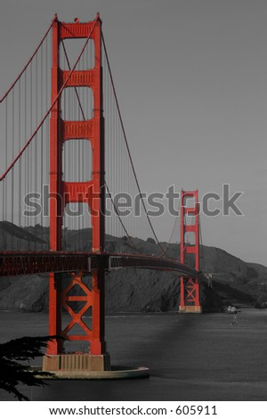 A vertical composition of the Golden Gate Bridge, selectively coloured for emphasis. - stock photo