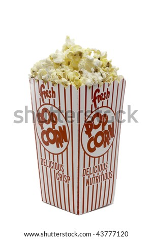 a vertical image of a box of theater popcorn - stock photo