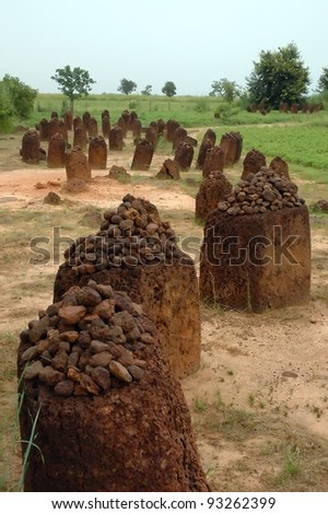 A vertical image of the Wassu stone circles in The Gambia - stock photo