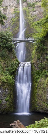A vertical panorama of Multnomah Falls, the tallest waterfalls in Oregon, and one of the tallest in the U.S. - stock photo