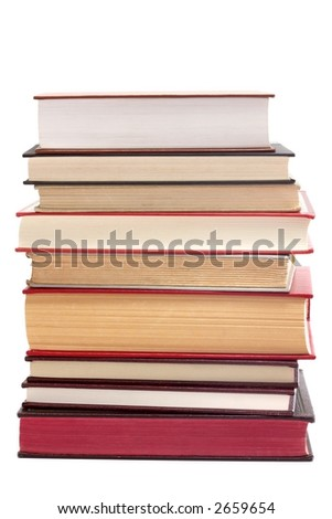 A vertical stack of books