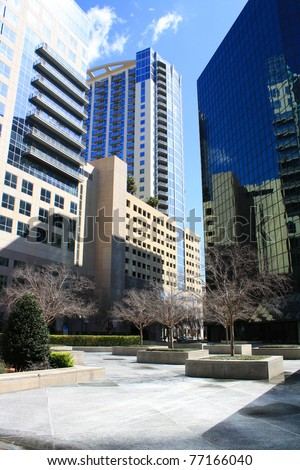 A vertical view of a downtown plaza in Orlando, Florida, on Orange Avenue. - stock photo