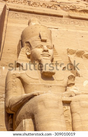 a vertical view of one of the colossus of the temple of Abu Simbel, Nubia, Egypt
