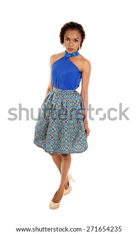 A very beautiful slim African American woman standing in a lovely skirt and blue blouse isolated for white background.  - stock photo