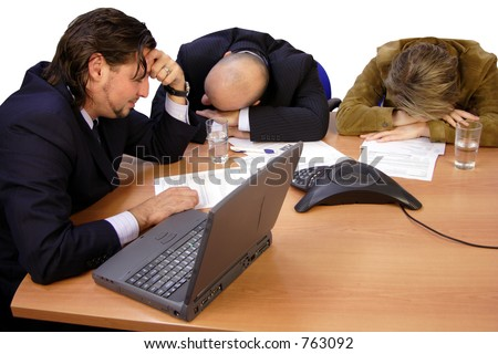 A very boring Meeting isolated - stock photo