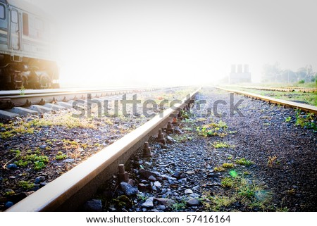 A very bright railway to heaven - stock photo