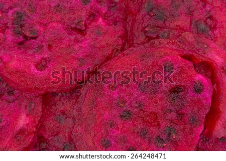 A very close view of slices of prickly pear cactus. - stock photo