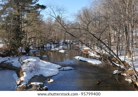 A very cold looking river on a winter day in Andover, Maine - stock photo