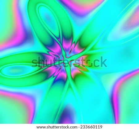 A very colorful abstract psychedelic fractal flower with four leaves in high resolution in  cyan,green,pink and purple colors - stock photo