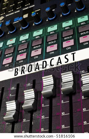 A very colorful control board for broadcast. - stock photo