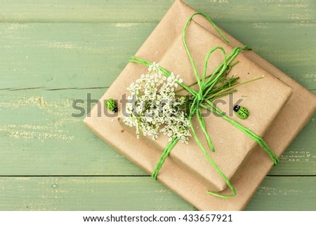 A very cute couple of gift boxes wrapped with simple drown craft paper and decorated with green jute, wooden ladybirds and small bunch of white wildflowers. Rustic decor. Concept for birthday - stock photo