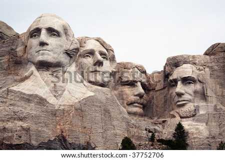 A very detailed closeup view of the four presidents at the Mount Rushmore National Monument.