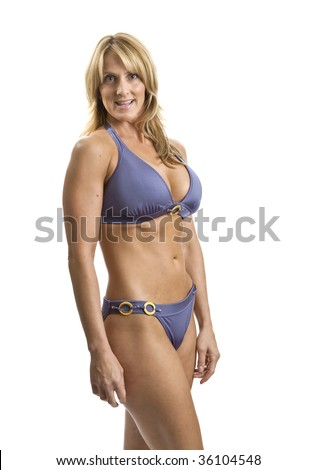 A very fit mature woman in a bikini