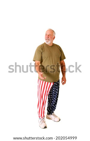 A very friendly and professional patriotic man stands against a white background while wearing his American Flag Style Pants.  isolated on white with room for your text.