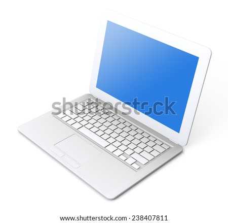 A very high resolution Simple Laptop 3D rendering image - stock photo