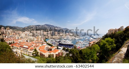 A very large panorama of Monaco, Monte Carlo. - stock photo