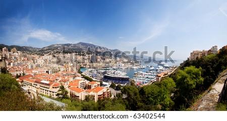 A very large panorama of Monaco, Monte Carlo. - stock photo