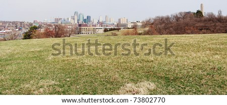 A very large panoramic view of all of the Kansas City skyline. - stock photo