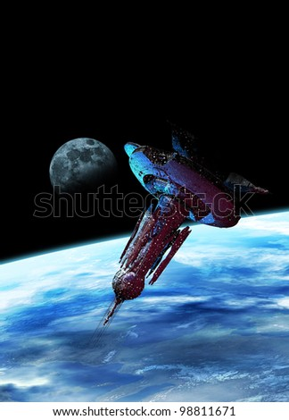 A very large spaceship is seen in space bathed in a blue glow from Earth below. In the distance is the moon. - stock photo