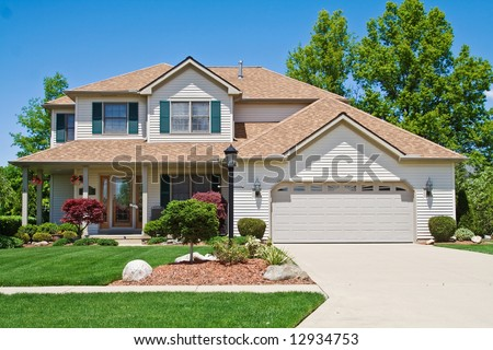 A very neat and tidy home in suburbs of Ohio - stock photo