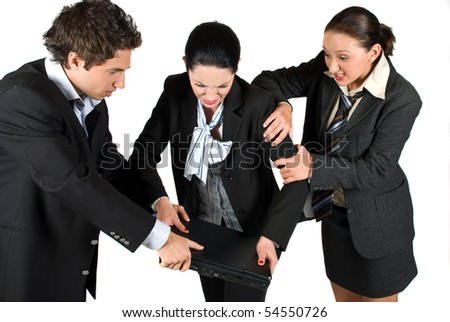 A very nervous businesswoman want to broke a laptop because bad business and her colleagues try hard to stop her .Can be a fight for laptop also