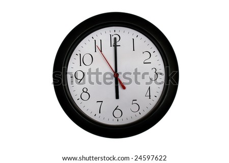 A very nice shot of a clock showing 6 O'clock - stock photo