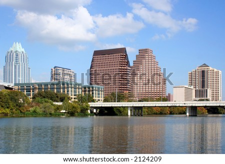A very pretty day in Austin, Texas.  This shot was taken from across Town Lake downtown.  A very useful image for Austin related content. - stock photo