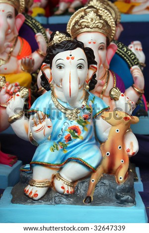 A very rare idol of the Hindu Lord Ganesha for sale on the ocassion of Ganesh festival in India. - stock photo