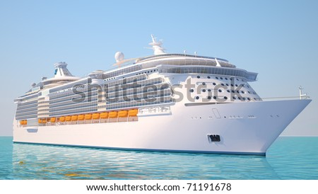 A very realistic view 3D illustration of a Cruise Ship, similar to the Freedom of the Sea ship. Sailing out at sea.