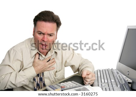 A very red faced man having a heart attack or choking in the office.  Isolated on white.
