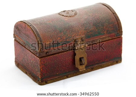 A very small wooden chest on white background.