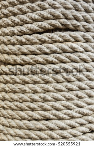 a very strong coiled rope, part of ship