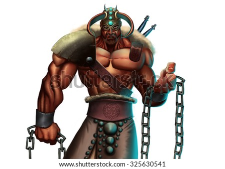 a very strong nordic warrior wearing a armor with some chains in his hand - stock photo