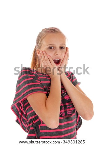 A very surprised pretty girl holding her hands on her face with an open