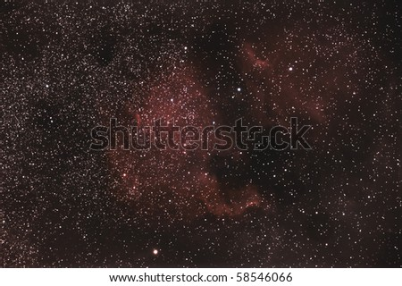 A very wide field view of the North American and Pelican Nebula - stock photo